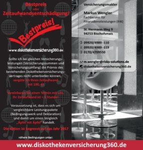 Diskothekenversicherung Bestpreis Flyer
